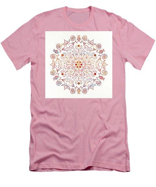 Colorful Mandala On Watercolor Paper Men's T-Shirt (Slim Fit) by Patricia Lintner
