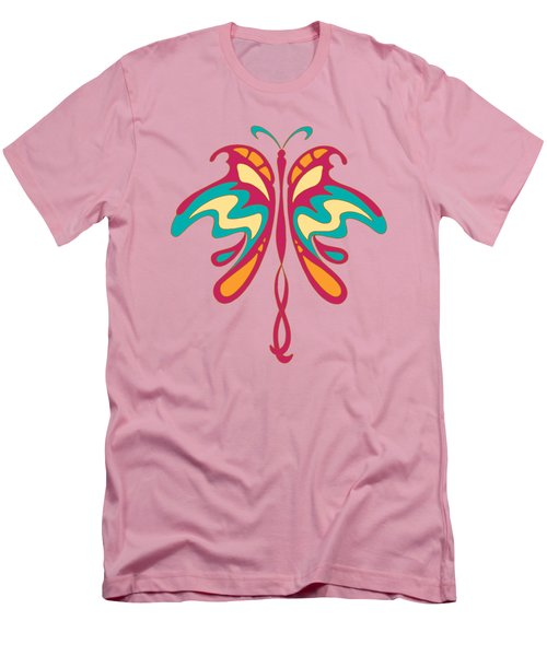 Colourful Art Nouveau Butterfly Men's T-Shirt (Slim Fit) by Heidi De Leeuw