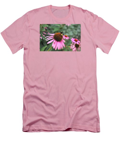 Men's T-Shirt (Slim Fit) featuring the photograph Cone Flowers And Bee by Sheila Brown