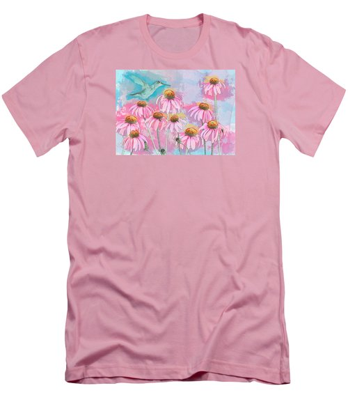 Coneflower Hummingbird Watercolor Men's T-Shirt (Athletic Fit)
