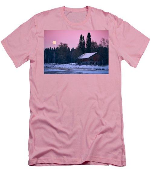 Countryside Full Moon Scenery Men's T-Shirt (Slim Fit) by Teemu Tretjakov