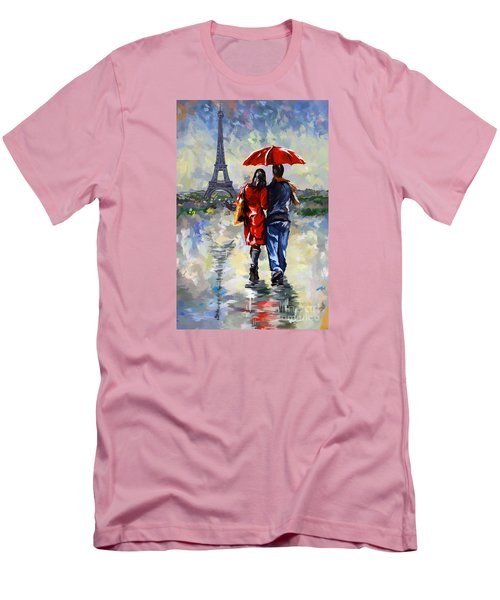 couple walking in the rain Paris Men's T-Shirt (Slim Fit) by Tim Gilliland