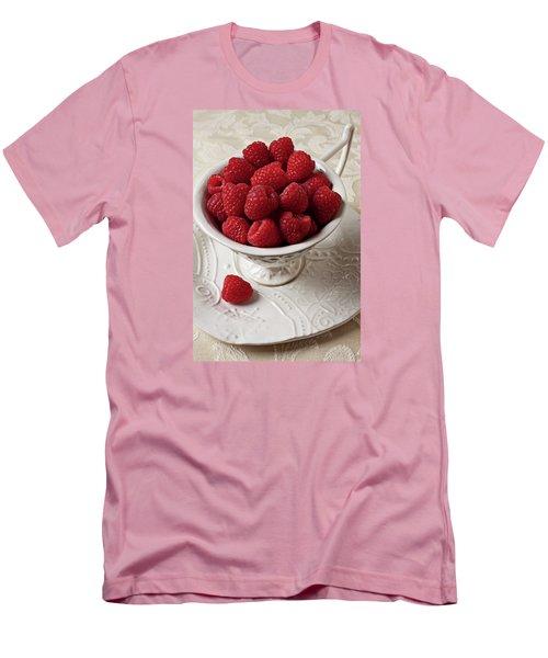 Cup Full Of Raspberries  Men's T-Shirt (Slim Fit) by Garry Gay
