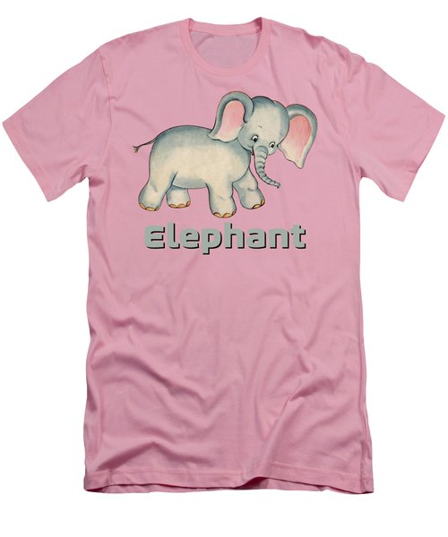 Cute Baby Elephant Pattern Vintage Illustration For Children Men's T-Shirt (Athletic Fit)