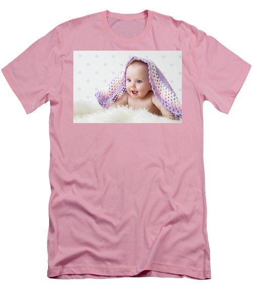 Cute Baby Laughing While Lying Under A Woollen Blanket. Men's T-Shirt (Slim Fit) by Michal Bednarek