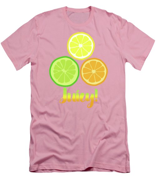 Cute Juicy Orange Lime Lemon Citrus Fun Art Men's T-Shirt (Slim Fit) by Tina Lavoie