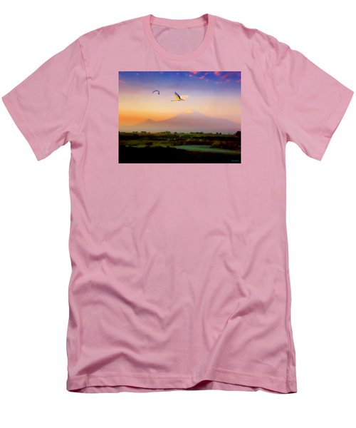 Dawn With Storks And Ararat From Night Train To Yerevan II Men's T-Shirt (Slim Fit) by Anastasia Savage Ealy
