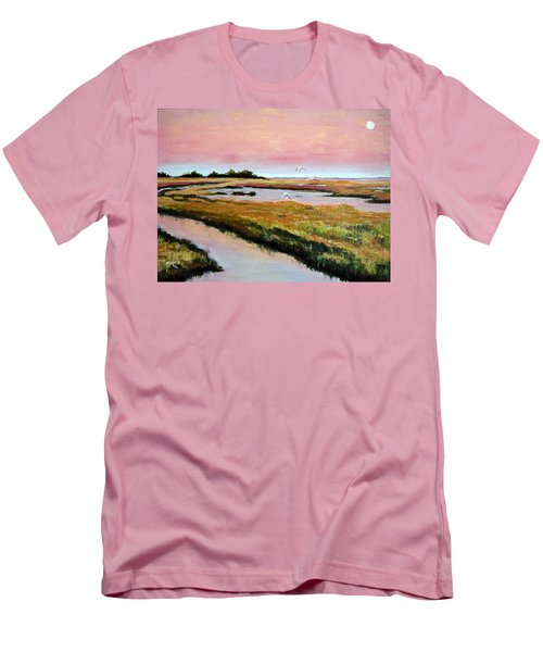 Men's T-Shirt (Slim Fit) featuring the painting Delta Sunrise by Suzanne McKee