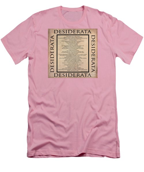 Desiderata - Spanish- Poema Escrito Por Max Ehrmann Men's T-Shirt (Slim Fit) by Claudia Ellis