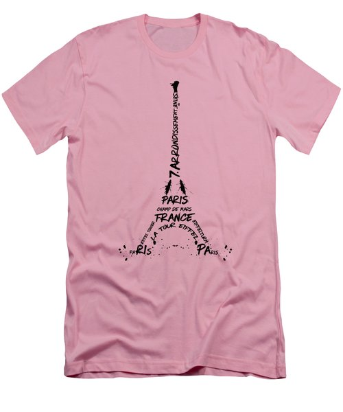 Digital-art Eiffel Tower Men's T-Shirt (Slim Fit) by Melanie Viola