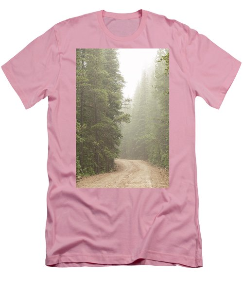 Men's T-Shirt (Athletic Fit) featuring the photograph Dirt Road Challenge Into The Mist by James BO Insogna
