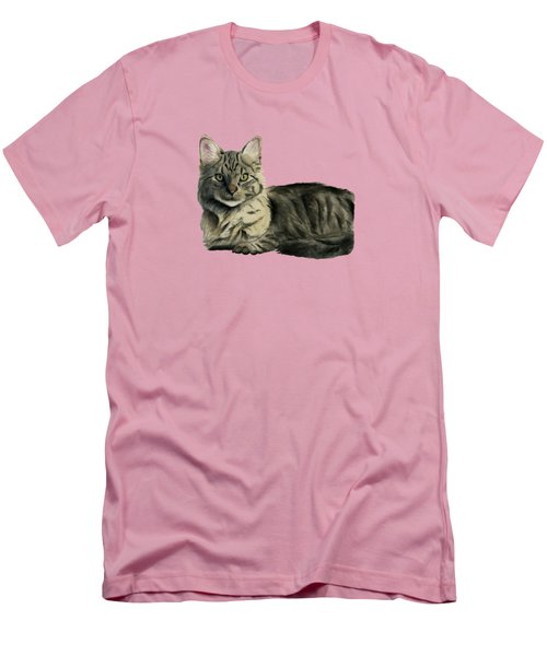 Domestic Medium Hair Cat Watercolor Painting Men's T-Shirt (Slim Fit) by NamiBear