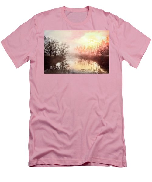 Men's T-Shirt (Slim Fit) featuring the photograph Early Morning On The River by Debra and Dave Vanderlaan