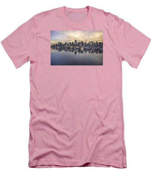 Fading Sun Over Downtown Vancouver Men's T-Shirt (Slim Fit) by Sabine Edrissi