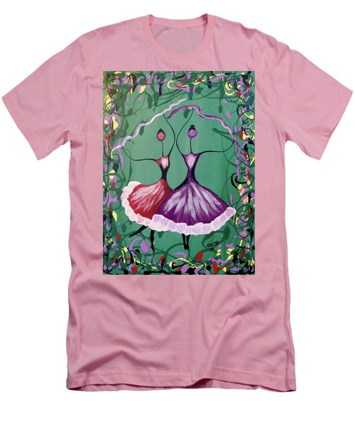 Men's T-Shirt (Slim Fit) featuring the painting Festive Dancers by Teresa Wing