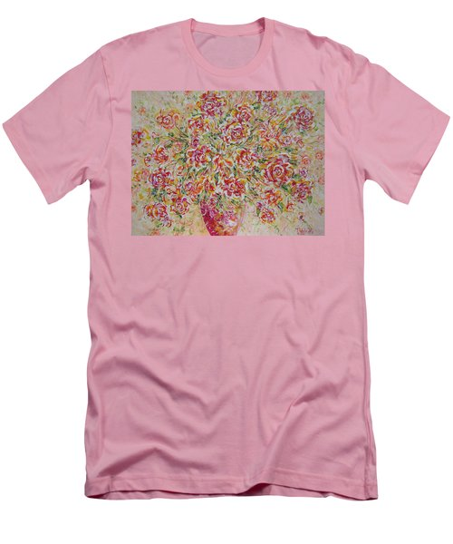 Men's T-Shirt (Slim Fit) featuring the painting First Love Flowers by Natalie Holland