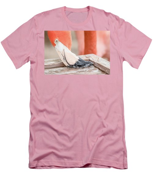 Men's T-Shirt (Slim Fit) featuring the photograph Flamingo At Sea World In Orlando Florida by Peter Ciro