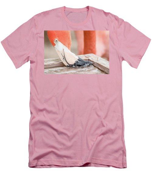 Flamingo At Sea World In Orlando Florida Men's T-Shirt (Slim Fit) by Peter Ciro