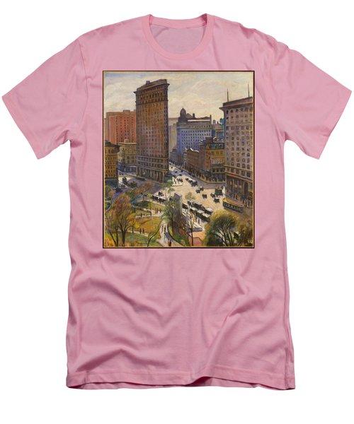 Men's T-Shirt (Athletic Fit) featuring the painting Flatiron Building New York By Samuel Halpert by Samuel Halpert
