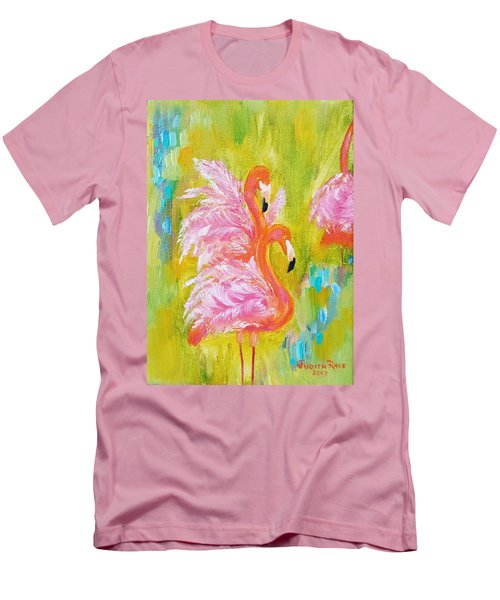 Men's T-Shirt (Athletic Fit) featuring the painting Flaunting Feathers by Judith Rhue