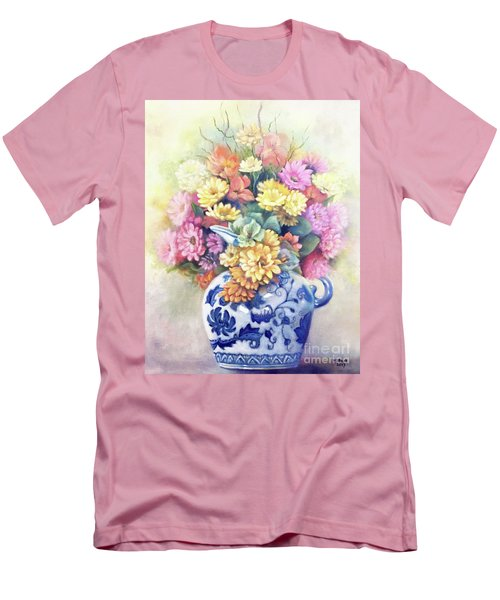 Men's T-Shirt (Athletic Fit) featuring the painting Floral Fusion by Marlene Book