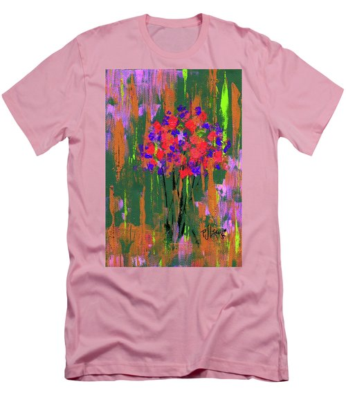 Men's T-Shirt (Slim Fit) featuring the painting Floral Impresions by P J Lewis