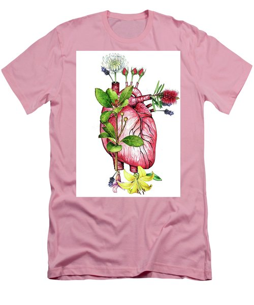 Flower Heart Men's T-Shirt (Slim Fit) by Heidi Kriel