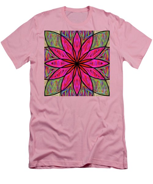 Men's T-Shirt (Athletic Fit) featuring the photograph Flower On Rainbow Mandala By Kaye Menner by Kaye Menner
