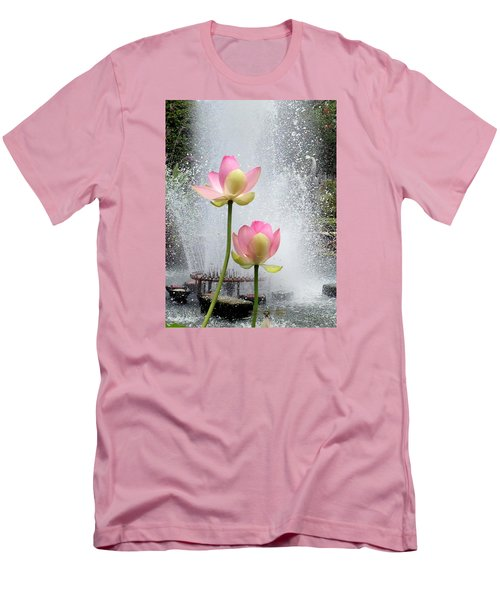 Flowers And Fountains Men's T-Shirt (Slim Fit) by Helen Haw