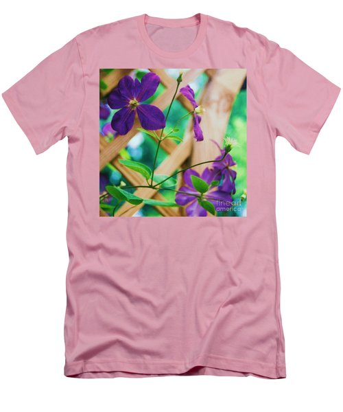 Men's T-Shirt (Slim Fit) featuring the painting Flowers Purple by Eric  Schiabor