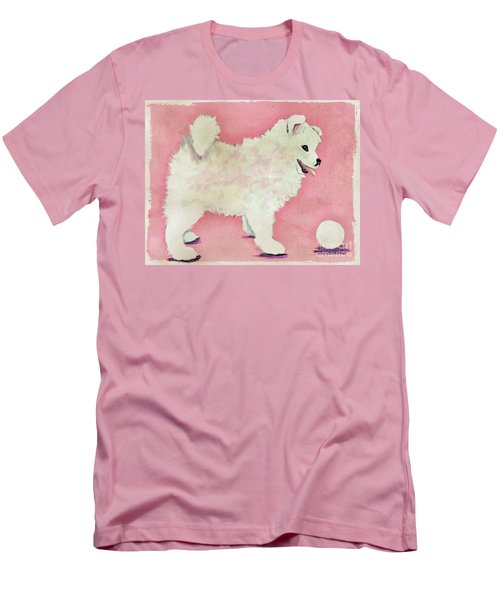 Fluffy Pup Men's T-Shirt (Slim Fit) by Phyllis Kaltenbach