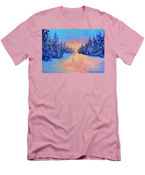 Men's T-Shirt (Slim Fit) featuring the painting Footprints In The Snow by Li Newton