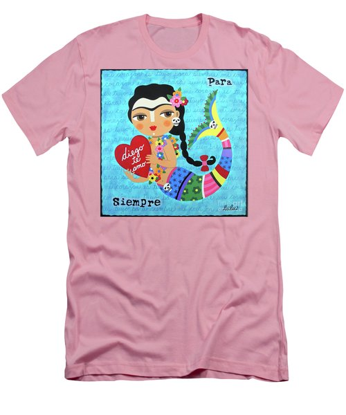 LuLu Mypinkturtle 30 Mens T Shirt Athletic Fit Featuring The Painting Frida Mermaid With Heart To
