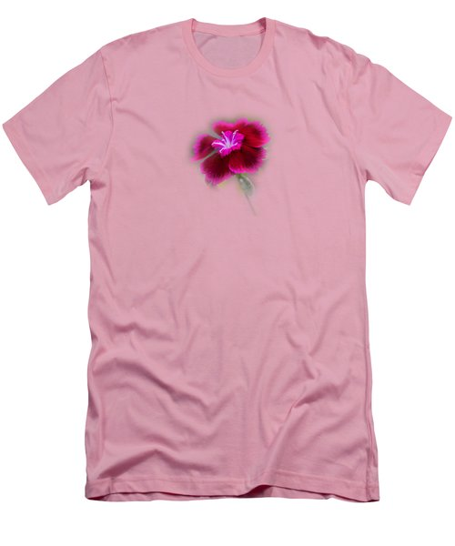 Fuchsia Pink Dianthus Tee-shirt Men's T-Shirt (Slim Fit) by Donna Brown