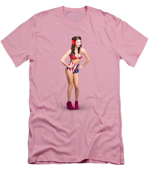 Full Body Pin-up Girl. American Retro Style Men's T-Shirt (Slim Fit)
