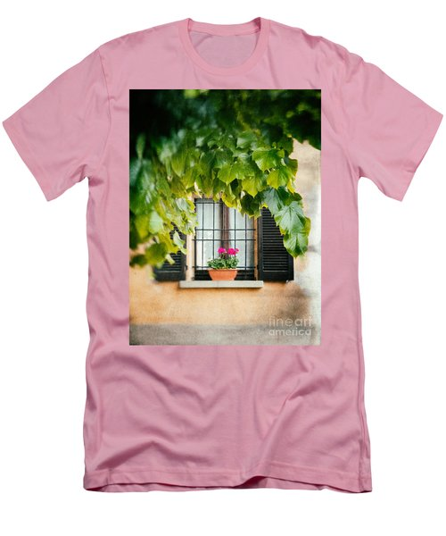 Men's T-Shirt (Slim Fit) featuring the photograph Geraniums On Windowsill by Silvia Ganora