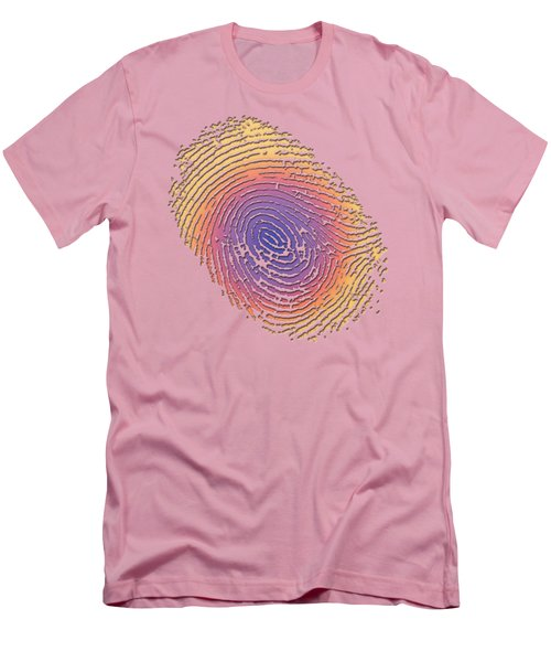 Giant Iridescent Fingerprint On Salmon Roe Pink Set Of 4 - 2 Of 4 Men's T-Shirt (Slim Fit) by Serge Averbukh