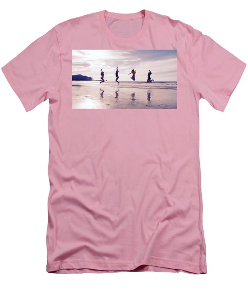 Girls Jumping On Lofoten Beach Men's T-Shirt (Slim Fit) by Tamara Sushko