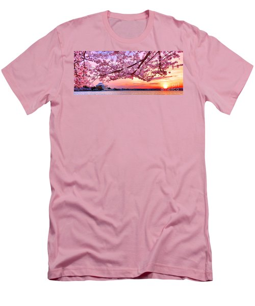 Glorious Sunset Over Cherry Tree At The Jefferson Memorial  Men's T-Shirt (Athletic Fit)