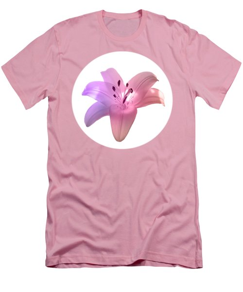 Glowing Pink Lily On White Men's T-Shirt (Athletic Fit)