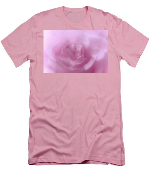 Men's T-Shirt (Slim Fit) featuring the photograph Glowing Pink Rose by Jenny Rainbow