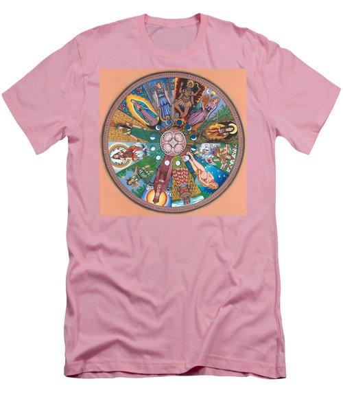 Goddess Wheel Guadalupe Men's T-Shirt (Slim Fit) by James Roderick