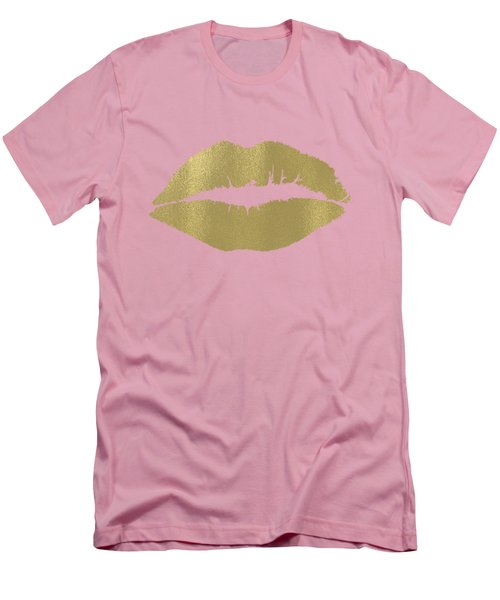 Gold Lips Kiss Men's T-Shirt (Slim Fit) by P S