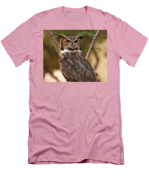 Men's T-Shirt (Slim Fit) featuring the photograph Great Horned Owl In A Tree 3 by Chris Flees
