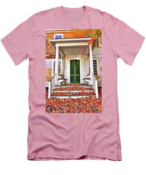 Green Autumn Door Men's T-Shirt (Slim Fit) by Joan Reese