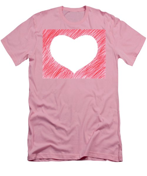 Hand-drawn Red Heart Shape Men's T-Shirt (Slim Fit) by GoodMood Art