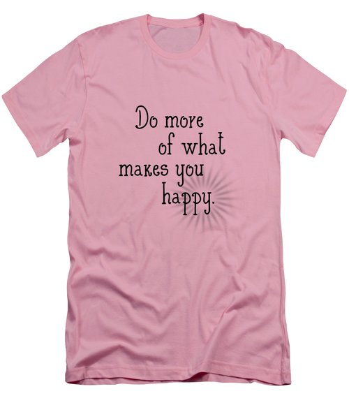 Text Art Happy Men's T-Shirt (Slim Fit) by Melanie Viola