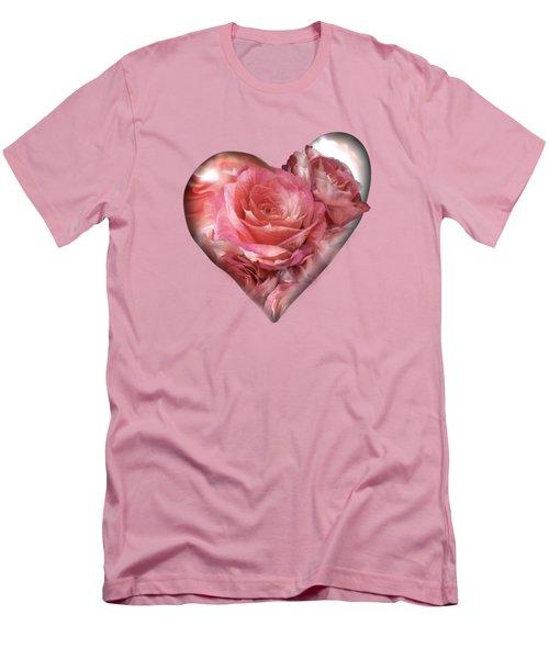 Heart Of A Rose - Melon Peach Men's T-Shirt (Slim Fit) by Carol Cavalaris