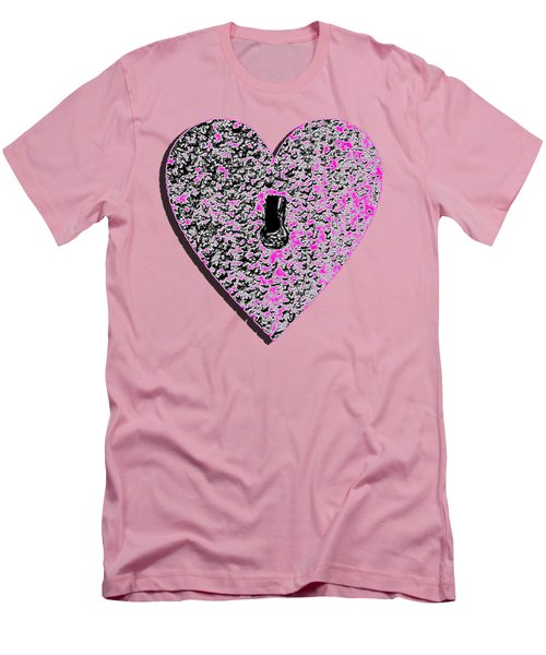 Men's T-Shirt (Slim Fit) featuring the photograph Heart Shaped Lock Pink .png by Al Powell Photography USA