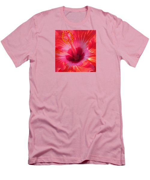 Hibiscus - Coral And Pink Square Men's T-Shirt (Slim Fit) by Kerri Ligatich